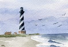 CAPE HATTERAS LIGHTHOUSE  Watercolor Signed Fine Art Print by Artist D J Rogers. $9.50, via Etsy.