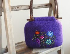Folk Style Embroidered Felt Bag by MuffinTopKnits on Etsy, $99.00