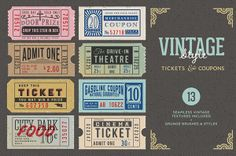 Vintage Tickets & Coupons Bundle by CreAtive Web Themes, via Behance