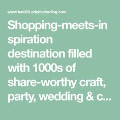 Shopping-meets-inspiration destination filled with 1000s of share-worthy craft, party, wedding & classroom ideas that won't break the bank. With each idea, find how-tos & a shopping list of supplies. Add them to your cart with the click of a button.