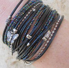 Boho Chic Black Leather Wrap Bracelet with Black Iridescent Miyuki Beads. $42.00, via Etsy.