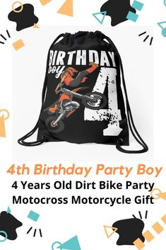 Birthday Party Boy 4 Years Old Dirt Bike Party Motocross Motorcycle Gift' Drawstring Bag by Sifoustore Motocross Birthday Party, Bike Birthday Parties, Dirt Bike Birthday, Dirt Bike Party, Motorcycle Party, Motorcycle Gifts, 4 Year Old Boy Birthday, Birthday Themes For Boys, Birthday Kids