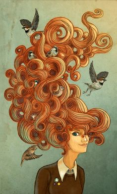 Sunshiney Hair - inspired by birds…and...