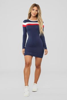 Most Popular Color Block Dress - Navy Sporty Outfits, Girl Outfits, Sexy Dresses, Fashion Dresses, Color Blocking Outfits, Girls In Mini Skirts, Sexy Older Women, Colorblock Dress, Amazing Women