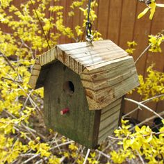 Perfect for spring! Miniature Birdhouse Rustic Barn Wood - reclaimed wood - gambrel roof - decorative bird house. $12.00, via Etsy.