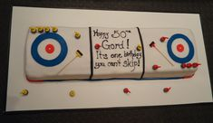 """""""Happy 50th Birthday, Gord! It's One Birthday You Can't Skip!"""" Rectangular Flat Sheet Cake --- It's a pun, a play on the fact that the unofficial team leader, chief strategist, and best player on a team is called a """"skip."""" ... #PunsAreFuns"""