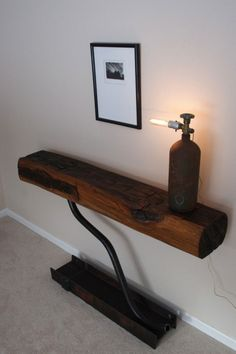 extinguisher lamp on block of wood table