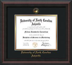 UNC Asheville U. Diploma Frame-Mahog Braid-w/UNCA Seal-Black on Gold – Professional Framing Company