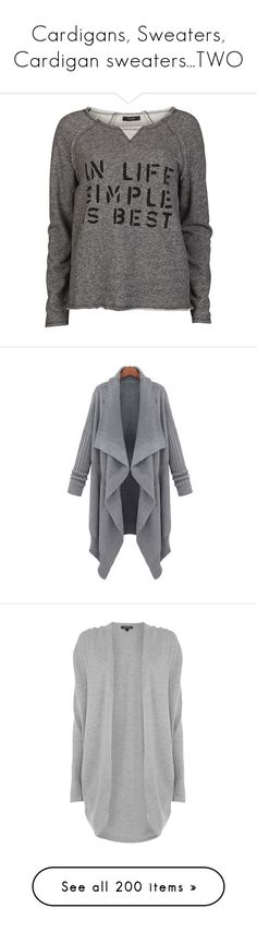 """Cardigans, Sweaters, Cardigan sweaters...TWO"" by taborbot ❤ liked on Polyvore featuring tops, cardigans, sweaters, shirts, camisolas, sweatshirt, dark grey melange, print top, shirt top and dark grey cardigan"