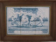 Antique Dutch Delft Blue White Pottery Tile Set Plaque