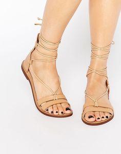 Image 1 ofPull&Bear Leather Lace Up Flat Sandal