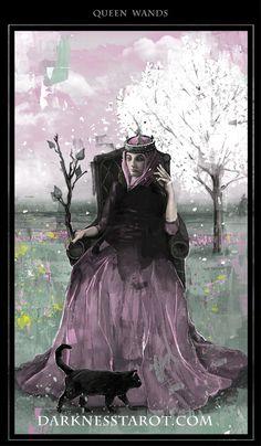 Queen of Wands. darknesstarot.com #tonydimauroart #queenofwands #tarot #darknesstarot