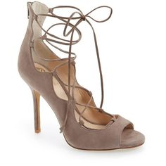 "Vince Camuto 'Sandria' Lace-Up Peep Toe Sandal, 4"" heel ($129) ❤ liked on Polyvore featuring shoes, sandals, stone taupe, vince camuto shoes, peep toe shoes, lace up sandals, lace up high heel sandals and open toe high heel sandals"