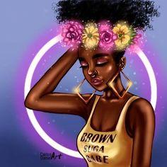 Una chingona ilustración!! Black Girls Pictures, Drawings Of Black Girls, Black Girl Cartoon, Natural Hair Art, Black Girl Magic, Black Girl Art, Art Girl, African Art, African Drawings