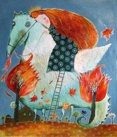 Autumn Leaves Horse Anna Silivonchik