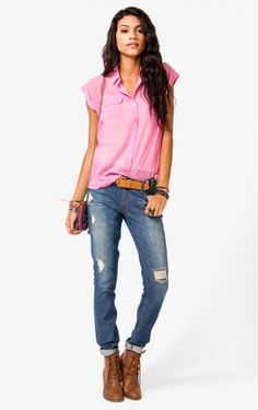 Pink Chiffon Short Sleeves Blouse