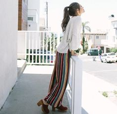 IG: @kristinlauria cute outfit with colorful & striped pants