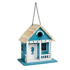 Blue Seahorse Hanging Birdhouse with Porch - Christmas Tree Shops and That! - Home Decor, Furniture & Gifts Store Seaside Home Decor, Coastal Cottage, Coastal Homes, Beach House Decor, Coastal Decor, Porch Christmas Tree, Bird House Plans Free, Nautical Table, Bird Houses Painted