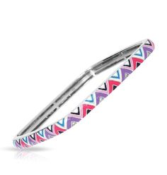 Constellations Collection; Chevron Purple and Pink Sterling Silver Bangle