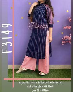 FREE Express Shipping In USA/UK. Indian Bohemian Designer Classic Trendy Stylish Rayon Attractive Printed Blue Kurta & Palazzo Women Special