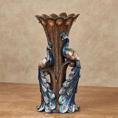 Priscilla Peacocks Decorative Table Vase Blue
