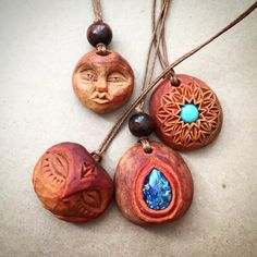 Hand carved avocado pit necklace. Face. Natural jewelery.