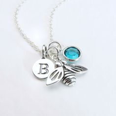 Silver Bee Necklace Personalized Initial And Birthstone, Sterling Silver Bee Jewelry, Birthstone Jewelry, Custom Initial Birthstone Necklace