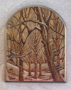 Pyrography Winter Cathedral by FineArtbyTina on Etsy