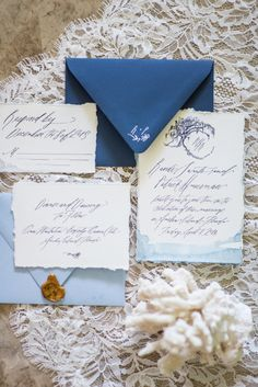 Beachside blue hue wedding invitations: http://www.stylemepretty.com/florida-weddings/amelia-island/2016/08/22/plantation-beach-wedding/ Photography: Shining Light - http://www.shininglight516.com/