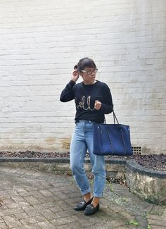 Second hand sweater, second hand Topshop mom jeans, GTopshop loafers, Prene bag