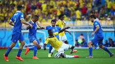 Jackson Martinez of Colombia falls to the ground COLOMBIA 3-0 GREECE