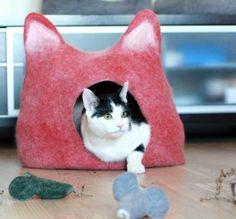 Cat bed  cat cave  cat house  ecofriendly handmade by AgnesFelt, $79.00