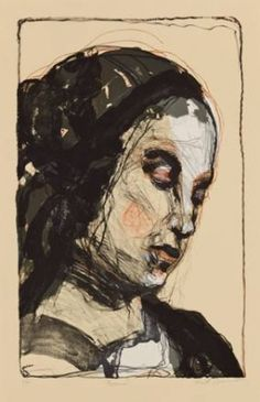 Rosanna - Kuutti Lavonen 2013 (lithographie 100X70) Portrait Paintings, Paper Art, Graphic Art, Faces, Graphics, Mood, Illustrations, Inspiration, Printed