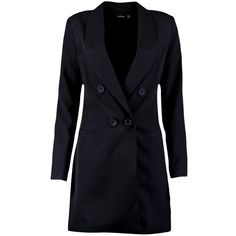 Boohoo Ada Double Breasted Blazer Dress (2,280 INR) ❤ liked on Polyvore featuring dresses, bodycon cocktail dresses, midi dress, skater dresses, jersey maxi dresses and bodycon dresses