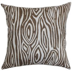 Thirza Swirls Italian Brown Feather Filled 18-inch Throw Pillow