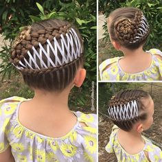 Niña con el cabello trenzado con listones