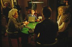 Theoretical physicist Stephen Hawking (second left) makes a guest appearance on Star Trek; The Next Generation in 1993. The episode features a scene in which the character Data participates in a poker game with a group of brilliant scientific figures consisting of Hawking, Einstein, and Newton. Photo: Julie Markes/AP