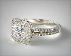 17070W14    Split Shank Princess Shape Diamond Halo Engagement Ring   14K White Gold  - Mobile