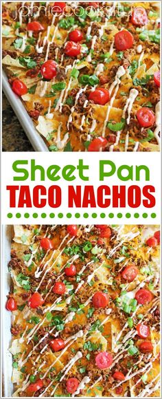 If you are looking for a great, simple, ever-so-easy, dinner or lunch recipe of wonder…this is it, my friends. These Sheet Pan Taco Nachos are packed with wonderfully seasoned ground beef, me…