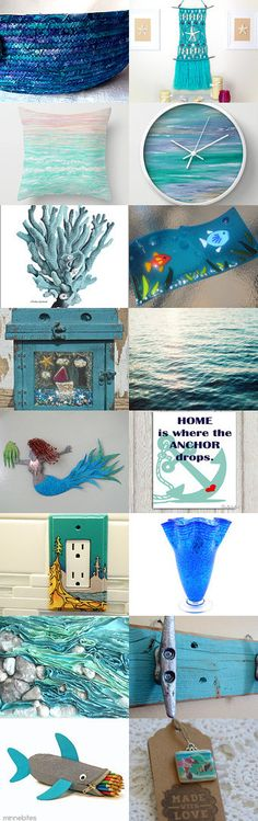 ocean art at great prices, by Nathalie Brault on Etsy-- #etsy #treasury #blue #basket #bowl #oceanblue #sea #blue #mermaid #clock #aqua  #turquoise #fish #summer #beach   Pinned with TreasuryPin.com