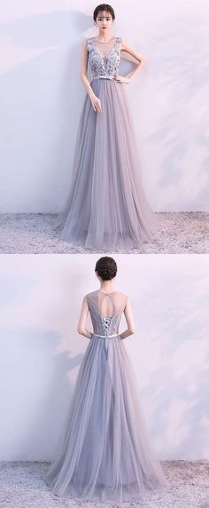 Gray A line tulle lace long prom dress, lace evening dress,Cheap Prom Dresses, #prom #fashion #dress #promdress #partydress #cheapdress #formaldress #homecoming #homecomingdress #Eveningdress