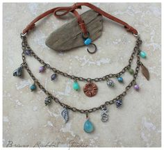 Layered bohemian necklace boho chic gypsy by BrassRabbitStudio