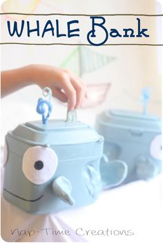 Formula Can Craft Whale Bank...great for our son's whale themed room.