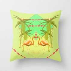 go flamingo, go ! Throw Pillow by AmDuf - $20.00