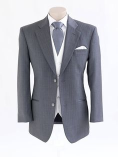 Paris - 2 button mid grey wool lounge suit with faint pinstripe | Peppers