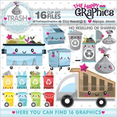 Garbage Clipart, Garbage Graphics, COMMERCIAL USE, Kawaii Clipart, Dumpster Clipart, Planner Accessories, Truck collecting Trash, Trash