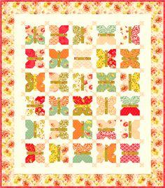 Honeysweet version of Moda's Fig Tree Quilt pattern Painted Ladies
