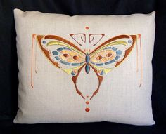 Arts & Crafts Butterfly Pillow. Embroidered Linen.
