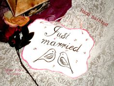 Rustic Wood Wedding Sign-Hand painted -Just married -with veiling hanging -lovely birds Wood Wedding Signs, Wedding In The Woods, Just Married, Rustic Wood, Wooden Signs, Keep It Cleaner, Diy Crafts, Hand Painted, Invitations