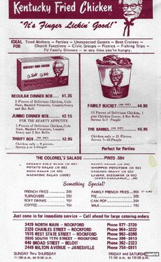 A vintage Kentucky Fried Chicken menu. Back when it was so delicious and the next best to home cookin'❤️ Menu Vintage, Vintage Ads, Vintage Food, Vintage Restaurant, Menu Restaurant, Restaurant Recipes, Retro Recipes, Vintage Recipes, Dinner Box